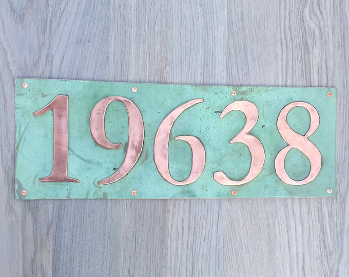 "Large  House address plaque 6"" high numbers in Copper,lacquered and patinated, 5 x nos in Garamond,  unique on the web g"