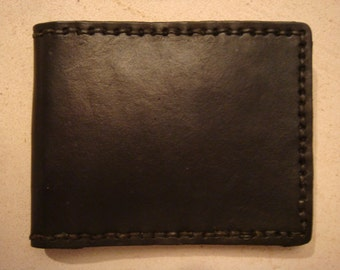 Handmade Black Leather Wallet - Leather Billfold
