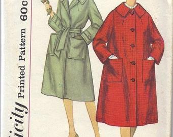 1950s Simplicity 3143 Misses' Coat Pattern, Size 14, Bust 34