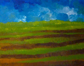 Acrylic Painting of a Field and Blue Sky