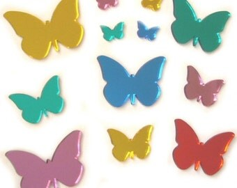 Colour Butterfly Mirrors Pack of Sixteen - 3 x 6cm, 5 x 4cm, 8 x 2cm