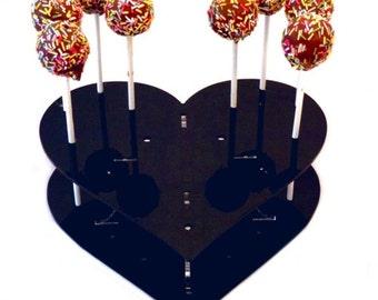 Heart Shaped Black Acrylic Cake Pop Stand - 15 Holes