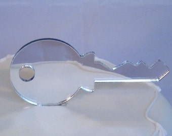 Door Key Cake Toppers in Silver Mirror Acrylic - 10cm / 4""