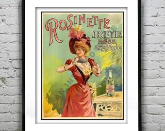 Vintage Absinthe Rosinette Art Deco Art Print Poster 1920's