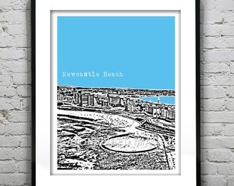 Newcastle Beach Poster Newcastle Australia New South Wales Art Print Skyline