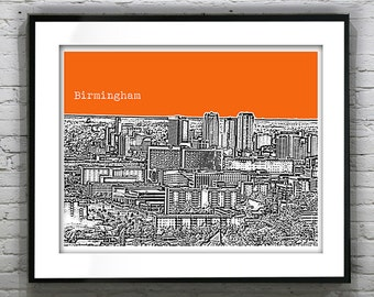 Birmingham Alabama Poster Art Print Skyline Version 3