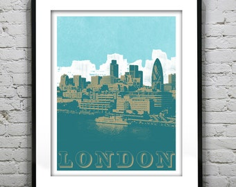 London skyline Poster Print Grunge Art Print London England Version 3
