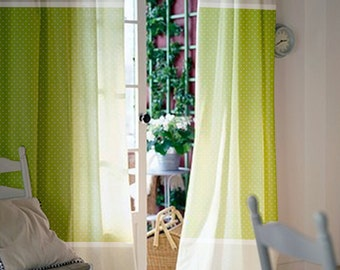 Green Window Curtains - Nursery Curtains - Kids Curtains - Curtain Panels - Polka dot Curtains - Window Treatments - Select size&lining type
