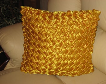 "Golden yellow smocked decorative handmade   throw pillow cushion cover 40 cm x 40 cm (16"" x 16"")"