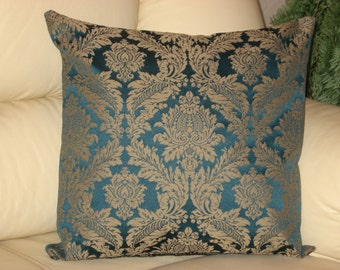 """Dark blue - Turquoise - Brown - Gold - Luxury -Tapestry - Handmade - Throw pillow  - Cushion - Cover - 40 cm x 40 cm (16"""" x 16"""")"""