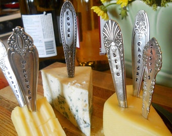Cheese Markers Tags Set from Vintage Silverware Handles