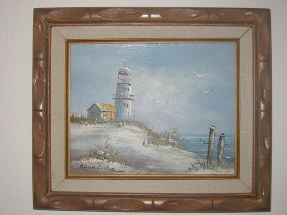 Painting By Brian Roche Lighthouse Seascape 11 1 2in X13 3 4