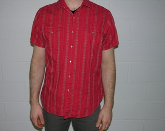 "S/S Red Western-Style ""Polo"" Shirt with Stripe Pattern - large"