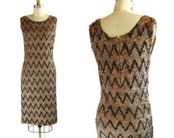 SALE 1950s SEQUIN CHEVRON Vintage Knit Dress in Black and Brown / Hand Beaded Sequin Cocktail Dress / Carl-Ann Dress
