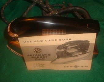 Vintage General Electric Iron F34 (1950s) Still in original box/ Use and care book included