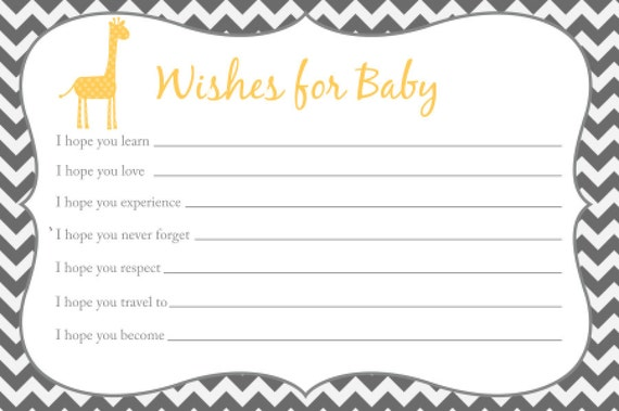 Wishes for baby card printable chevron baby shower giraffe for Wishes for baby template printable