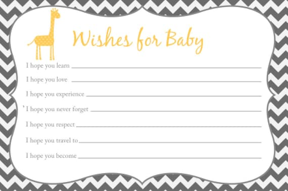 Wishes for baby card printable chevron baby shower giraffe for Wishes for baby printable template