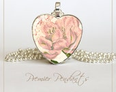 Heart Pink Rose Flower Necklace Pendant Jewelry Vintage Image Art Valentine's Day 0106HS