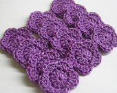 Handmade crocheted tiny flower appliques, purple 1 inch, 12 pc.