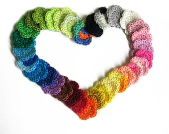 Crocheted flower appliques, 1 inch, choose Your colors, 24 pc.