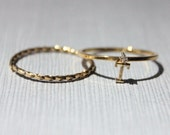 T-18K Gold Plated Initial Ring with Swarovski Crystal with Midi / Mid-Knuckle Ring