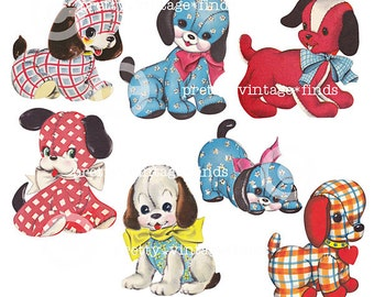 "Vintage ""Calico Gingham Puppies Pups"" Digital Collage Sheet - (CS3) for Mixed Media, Altered Art, Scrapbooking - INSTANT Download"