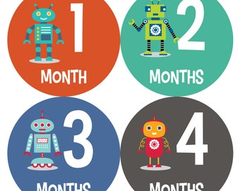 Baby Monthly Stickers, Monthly Baby Boy Stickers, Baby Month Milestone Stickers - Baby Boy, Robot, Baby Shower Gift, Blue, Green