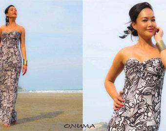 White Black Strapless long maxi  dress all size