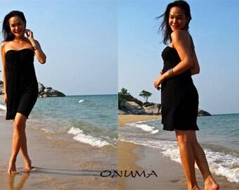 Black  strapless Short dress summer Beach dress  All size