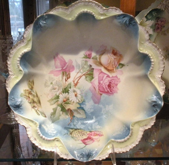 1900s RS Prussia Bowl Antique Porcelain Victorian Art Nouveau Cottage Chic Home Wedding Decor Wreath Star Roses Daisies Snowball Poppies