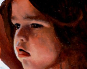 Madonna Study Three, Original Small Oil Painting of a Female Child
