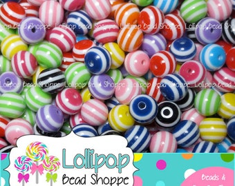 10mm STRIPED Beads Colorful Stripe Beads Resin Beads Round Plastic Beads 50 MIX Bubblegum Beads Bubble Gum Beads Bottle Cap Beads