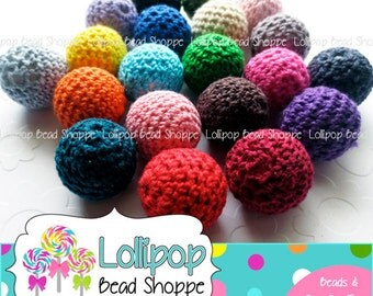 Crochet Beads Knit Beads 21mm Chunky Beads Covered Beads Crochet Balls 6-ct MIX Gumball Beads Bubble Gum Beads Bubblegum Bead Necklace