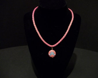 Coral Owl Kumihimo Necklace