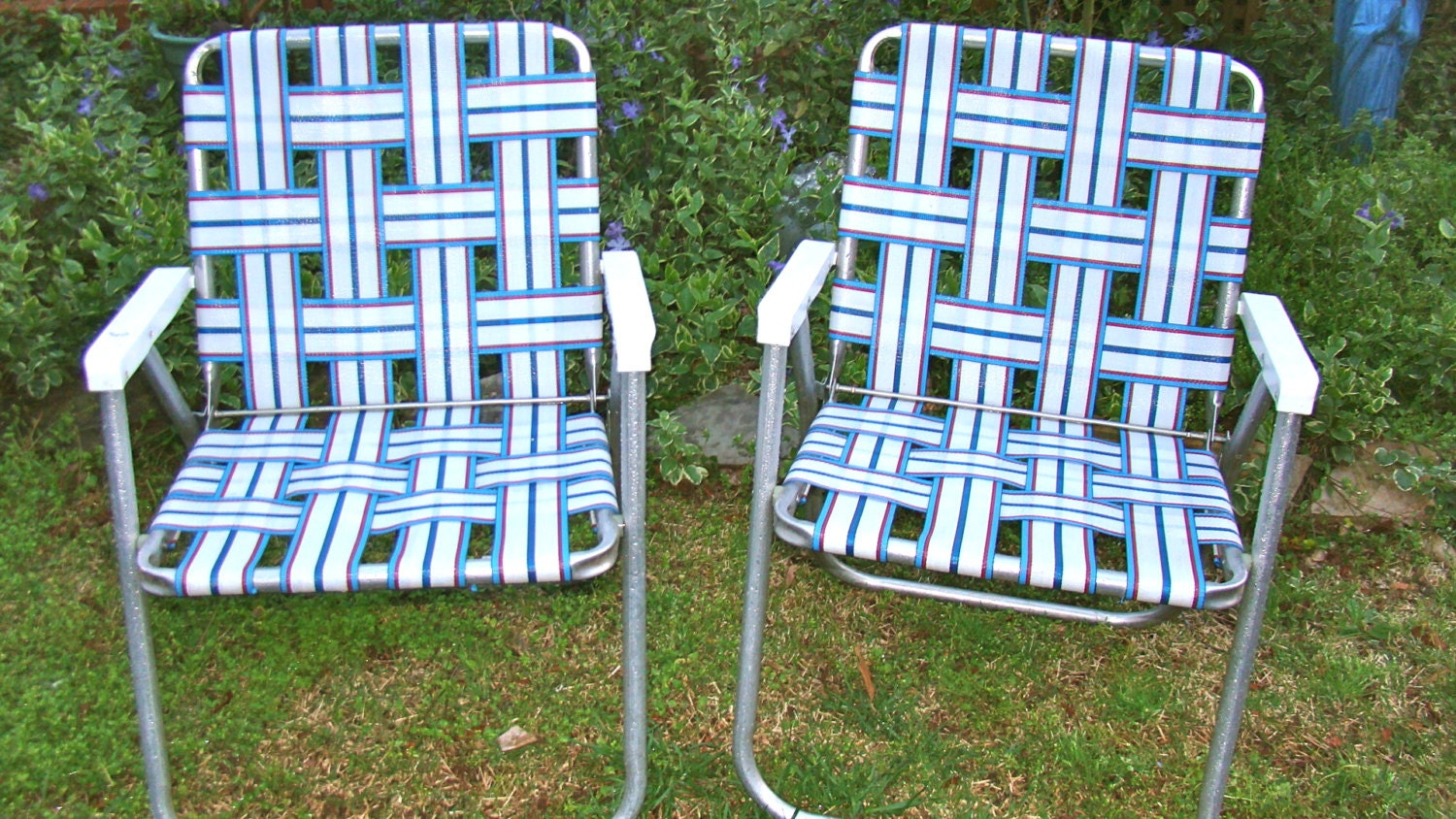 Aluminum Lawn Chairs Folding Webbed. RV. Matching Pair Red