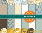 12 luxury elegant french bee digital papers and 12 high res badges clipart