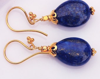 lapis and vermeil earring