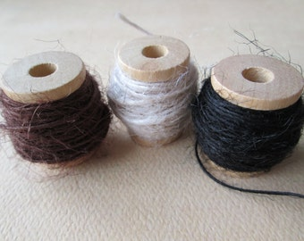 Three (3) Spools of Jute Twine - Brown, Creme and Black - 45 Feet
