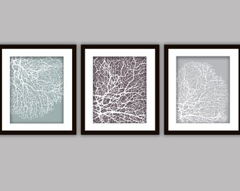 Bathroom Coral Art Prints, Set of 3 in ANY colour(s)