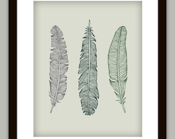 Feather Bathroom Art Print Poster (Customize with any color)