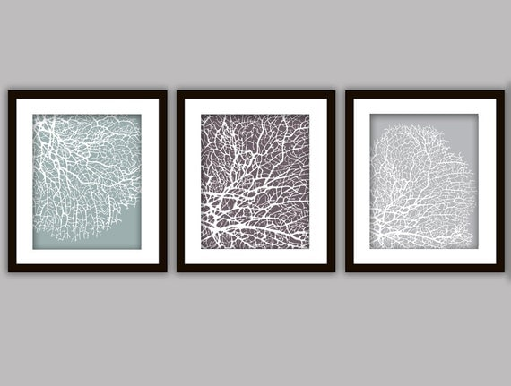 Bathroom coral art prints set of 3 in any colours