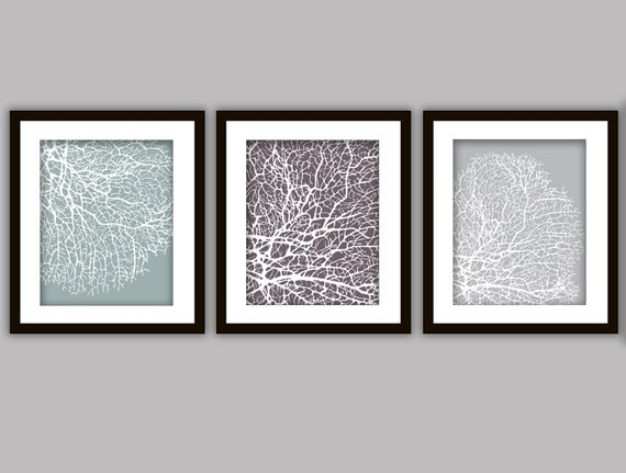 Bathroom coral art prints set of 3 in any by printsofbeauty for Bathroom decor etsy