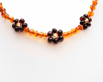 Flower Honey with Cherry Genuine Baltic Amber Teething Necklace