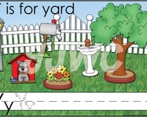 Y is for Yard Alphabet File Folder Game - Downloadable PDF Only