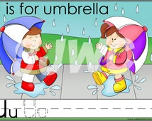 U is for Umbrella Alphabet File Folder Game - Downloadable PDF Only