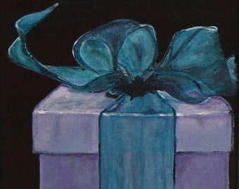 FREE SHIPPING Giftbox  acrylic painting 7,87 inch x 7,87 inch,original still life