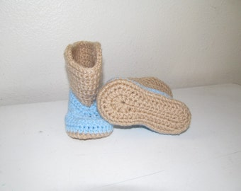 Hand Crocheted Baby Cowboy Boots