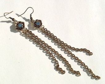 Waters of Capri- Repurposed Swarovski & Chain Earrings