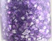Huddle Up - Glitter Nail Polish Purple and White Team Spirit 5 free nail polish handmade indie nail polish purple glitter nail polish