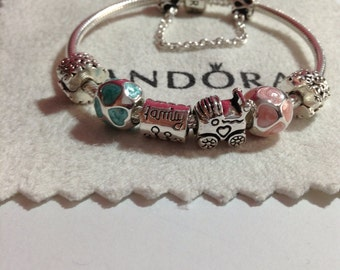 Authentic Pandora charm  BRACELET With threaded charms